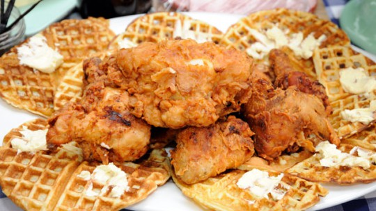 Chicken and Waffles with a side of bottomless mimosas-my all-time favorite brunch meal!