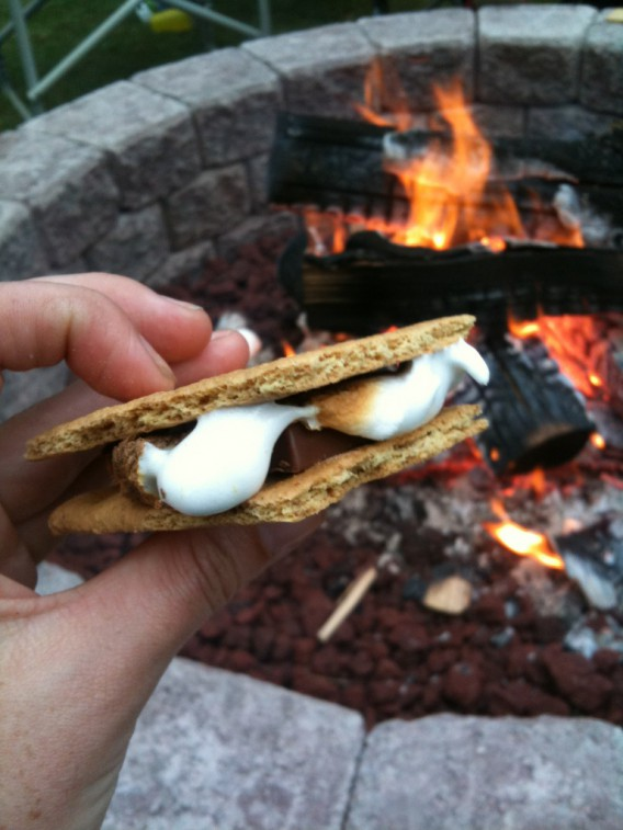I don't always go camping but when I do, I'm sitting fireside with a graham cracker, a roasted marshmallow and a Hershey's chocolate bar, constructing the perfect campfire treat!